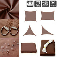 Sun Shade Sail Outdoor Patio Top Canopy Cover 98% Anti-UV Waterproof Brown US