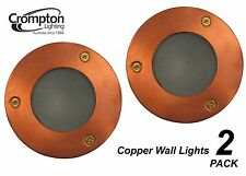 2 x Round Copper Recessed Exterior Wall Lights 12V 35W MR16 Low Voltage Outdoor