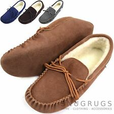 SNUGRUGS Mens Genuine Suede Moccasin Sheepskin Slippers Soft Suede Sole