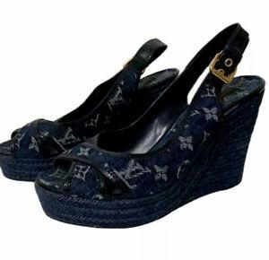 Louis Vuitton Monogram Espadrille Wedge Sandals Shoes Size Euro 40