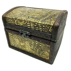 Small Hinged Ornate Carved Wood Box Chest Trunk Latched Flowered Gold Tooled Lid