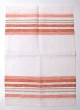 Set of 4 100% Linen Williams-Sonoma Placemats  Striped Terra Cotta Reds and Grey