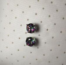 Mystic Topaz Genuine 2.00CTTW Stud Earrings In Round-Cut Sterling Silver