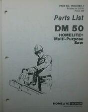 Homelite DM50 Gas Multi-Purpose Saw Parts Manual +Bonus 8p Concrete Metal Cutter