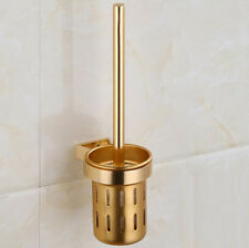 Aluminum Space Wall Mounted Home Bathroom Toilet Cleaning Brush Holder Set Gold