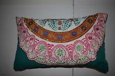 BAR III WHITE PLEAT COLLECTION EMBROIDERED BEADED BOHO DECORATIVE PILLOW