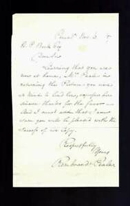 Rembrandt Peale / Autograph Letter Signed November 6th 1857 First Edition