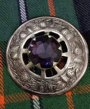 Scottish Kilt Fly Plaid Brooch Silver Antique Finish Purple Stone Pin & Brooches
