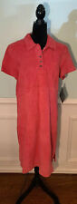 Terry Lewis short sleeve pink leather suede shirtdress size 14 NWT