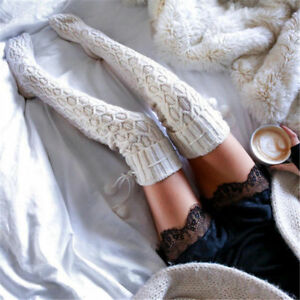 Women Winter Long Over Knee Socks Warm Soft Knitted Thigh-High Stockings