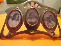 Brass Antique Late 19th Century 3-Picture Desk Frame Signed DRGM 59922 4 Inches