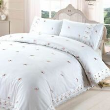 SOPHIE FLORAL WHITE KING SIZE DUVET COVER SET EMBROIDERED FLOWERS