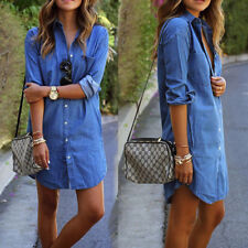 Women's Fashion Jeans Denim Pocket Long Sleeve T-shirt Loose Shirt Mini Dress WL