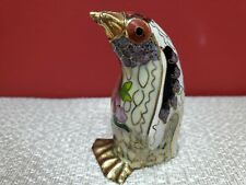 Cloisonne penguin with gold feet