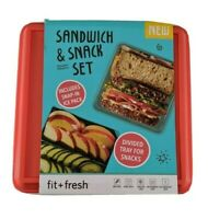 Sandwich & Snack Set Divided Tray Ice Pack 4 Piece Lunch Box Red Fit + Fresh New