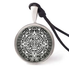 Mayan Calendar Necklace Pendant Silver Pewter Key Chain Aztec American Indian