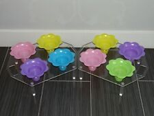2 Shave Ice Sno Cone Flower Cup Counter Holders Acrylic Serving Trays
