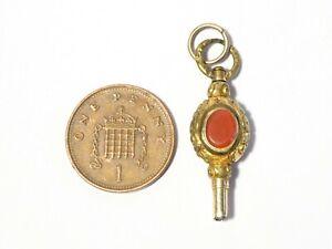 c1830 2 Stone Carnelian & Milky White Stone Gilt Pocket Watch Key Winder #WK21