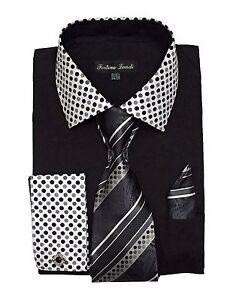 New Men's High Quality Fashion Dress Shirt With Tie&Hanky French Cuff FL630