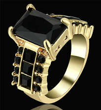 Men's Black Sapphire 18k yellow Gold Filled Fashion Wedding Ring Gift Size 6
