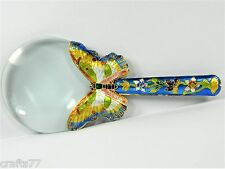 5X Chinese Magnifying Reading Glass,Cloisonne Copper Enamel Butterfly Handle