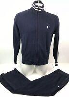 Vtg Polo Ralph Lauren Cotton Sweatsuit Jacket Large Pants XL Blue White Pony