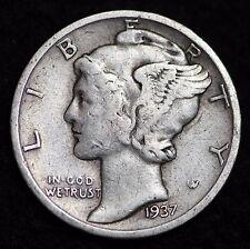 1937-D MERCURY DIME / CIRCULATED GRADE GOOD / VERY GOOD 90% SILVER COIN