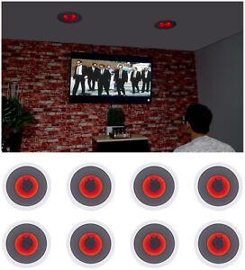 "(8) Rockville HC85-LED 8"" 700 Watt In-Ceiling Home Theater Speakers w/ Red LED"