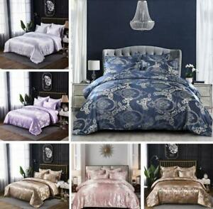 Luxury Jacquard Duvet Quilt Cover 3 Piece Satin Bedding Set Single Queen King