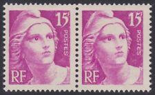 N° 727**  15Frs LILAS-ROSE TYPE MARIANNE DE GANDON EN PAIRE