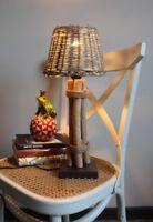 Tischleuchte Rattan Schirm Rund Leuchte Maritim Lampe Landhaus H45 cm NEU