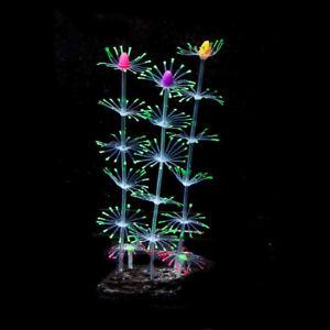 Silicone Glowing Artificial Fish Tank Aquarium Decor Coral Plants Ornament UK