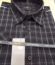 Camicie casual e maglie da uomo neri in cotone con colletto