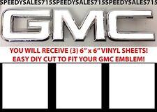 "(3) 6"" x 6"" Gloss White Vinyl Overlays For GMC Emblems DIY New Free Shipping USA"