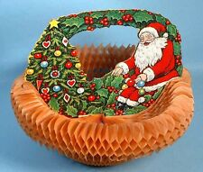 1920s Beistle Santa Claus in Honeycomb Crepe Basket Sleigh Christmas Decoration