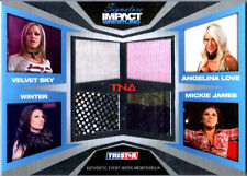 TNA Mickie James Winter A Love V Sky 2011 Impact SILVER Quad Relic Card 183 /199