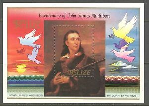 BELIZE 1985, J.J. AUDUBON PORTRAIT  BY JOHN SYNE,  Scott 756, SOUVENIR SHEET MNH