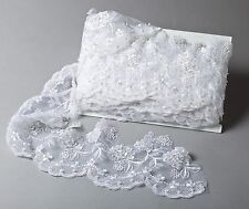 """White Embroidered Organza Beaded w/Sequins 6"""" Wide Bridal Trim By the Yard #209"""