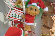 "ONE LUCKY LOTTERY SANTA TROLL CLIP ON w/TICKET - 3"""" Russ Troll Doll - NEW"