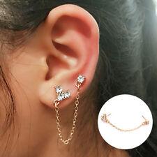 Fashion Rhinestone Ear Cuff Clip Heart Earring Chain Double Piercing Earrings