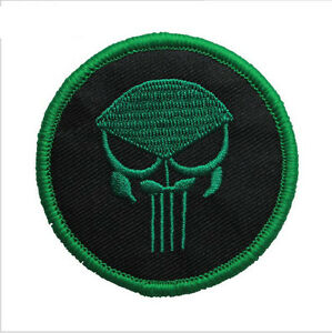 PUNISHER SKULL CIRCULAR GREEN HEAD USA ARMY OPS AIRSOFT ISAF SWAT HOOK PATCH /02