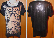 MAREN GILZER Shirt Tigerkopf Paillettendetails  Gr.48 *  QVC *