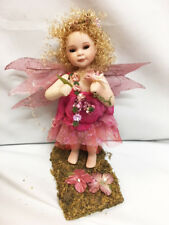 New In Box HOT PINK Sparkle FAIRY All Porcelain Doll with Grass Forest Stand