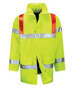Hi Vis Hi Visibility 3/4 Length Jacket with Red Braces - Hi Viz Yellow - FWRDBJ