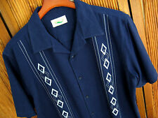 NWT Mens Silk Camp Shirt Navy Blue Casual Dress Retro Bowling Cool 50s New XL