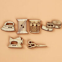 100Pcs Sewing Machine Scissors Shaped Wooden Buttons Sewing Button For Clothes