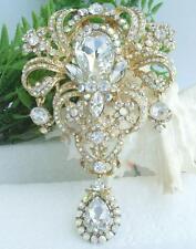 """Luxury 4.92"""" Teardrop Flower Brooch Pin Pendant Clear Austrian Crystal 04042C12"""