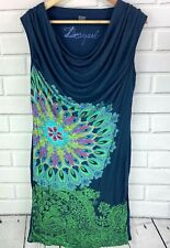 Desigual Women's Draped Fitted Dress EUR Large Peacock Floral Casual Navy Teal