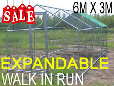 Chicken Run 3m X 6m Walk in Coop for Poultry Dog Rabbit Hen Cage Pen Metal Door