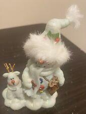"Vintage 4""  Blue Snowman Santa Figurine With Fur Glitter & Small Reindeer"